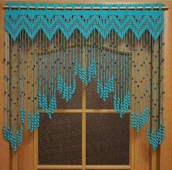 cortina de crochê - cortina de crochê azul