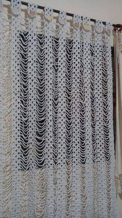cortina de crochê - cortina de crochê branca simples
