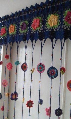 cortina de crochê - cortina de crochê colorida de porta
