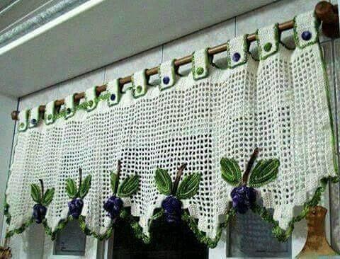 cortina de crochê - cortina de crochê com barrado verde