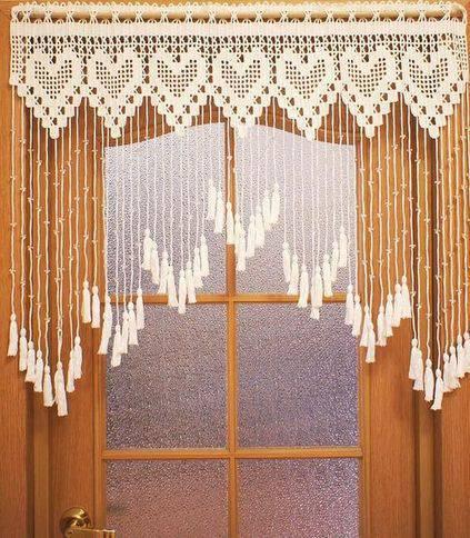 cortina de crochê - cortina de crochê com franjas
