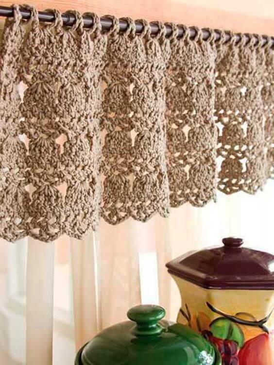 cortina de crochê - cortina de crochê marrom