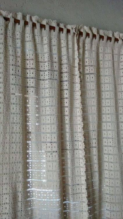 cortina de crochê - cortina de crochê simples e branca