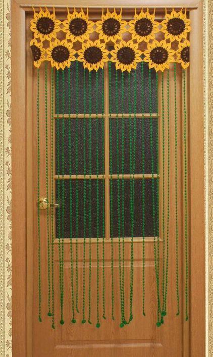 cortina de crochê - cortina de girassol
