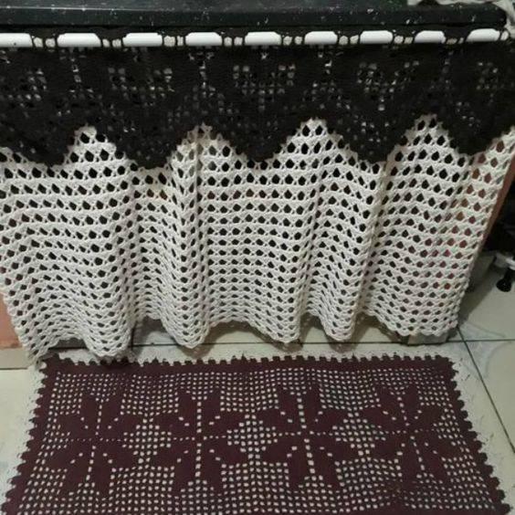cortina de crochê - cortina de pia