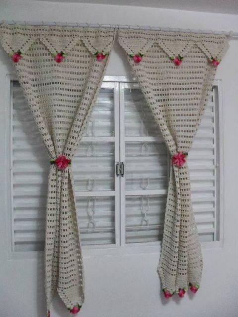 cortina de crochê - cortina grande de crochê