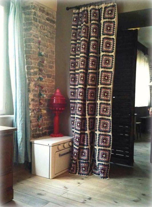 cortina de crochê - cortina roxa escura simples