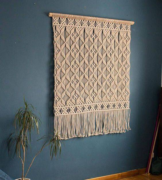 cortina de crochê - cortina simples com barrado