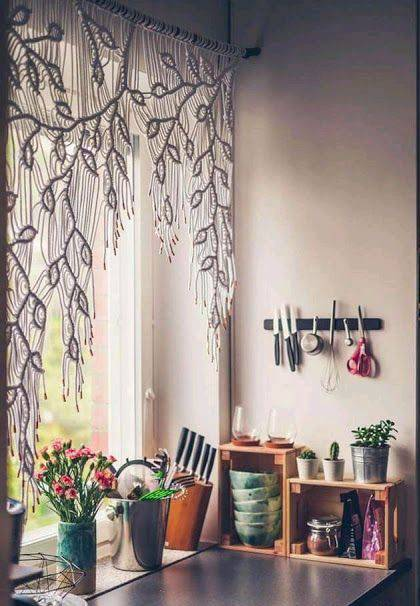 cortina de crochê - cozinha com cortina de crochê branca