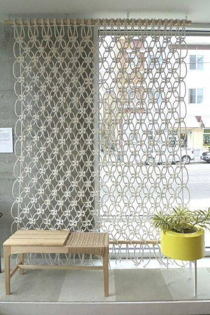 cortina de crochê - macramê na decoração