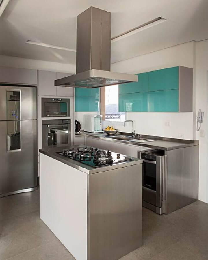 cozinha com ilha pequena Foto Casa de Valentina
