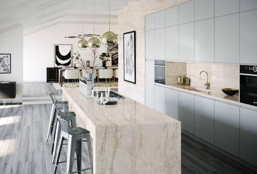 cozinha conceito aberto com ilha de mármore Foto Cosentino
