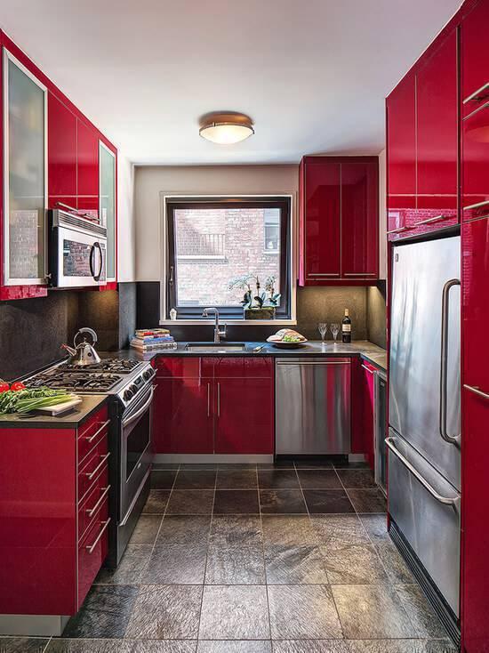 Cozinha cor vermelha e preta