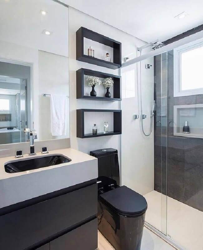 decoração clean para banheiro preto e branco Foto Tudo Especial