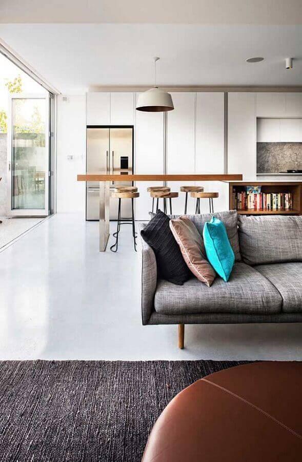 decoração clean para sala e cozinha conceito aberto Foto Pinterest