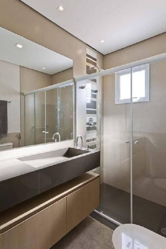 decoração com cuba esculpida marrom para banheiro pequeno planejado Foto Conseil Brasil