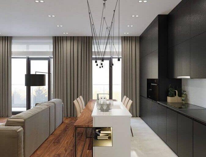 decoração com pisos difernetes para sala e cozinha conceito aberto Foto Behance