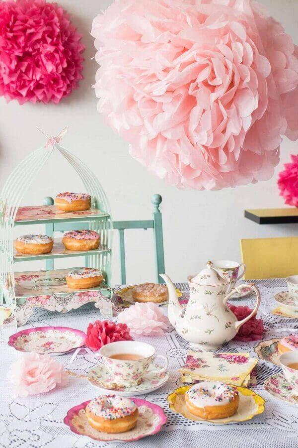 decoração delicada para mesa de café da manhã rosa Foto Brooklyn Farm Girl