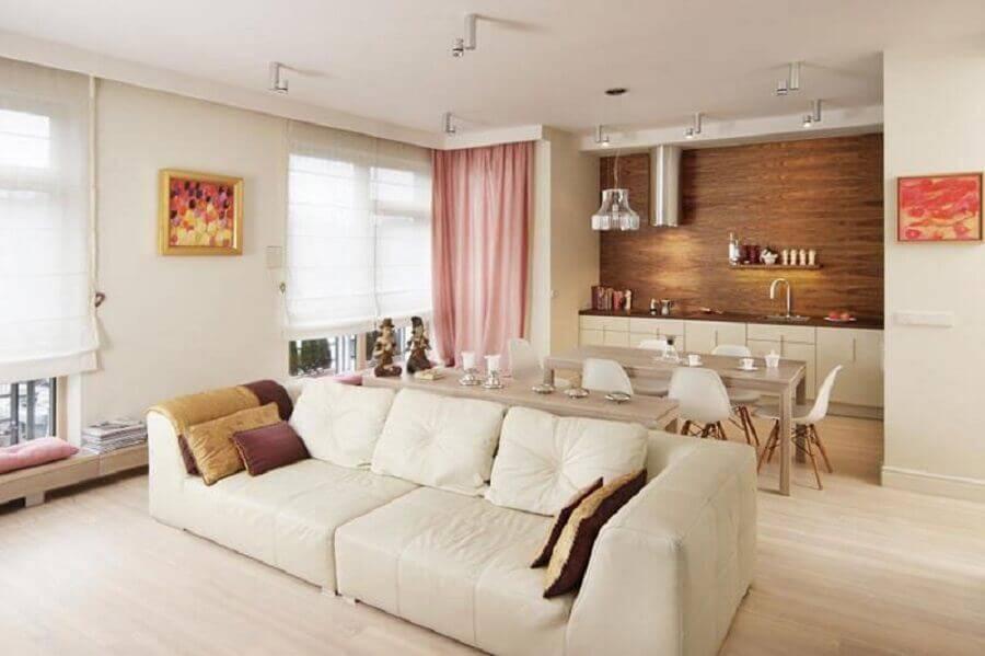 decoração em cores neutras para sala e cozinha conceito aberto Foto Home Design Interior