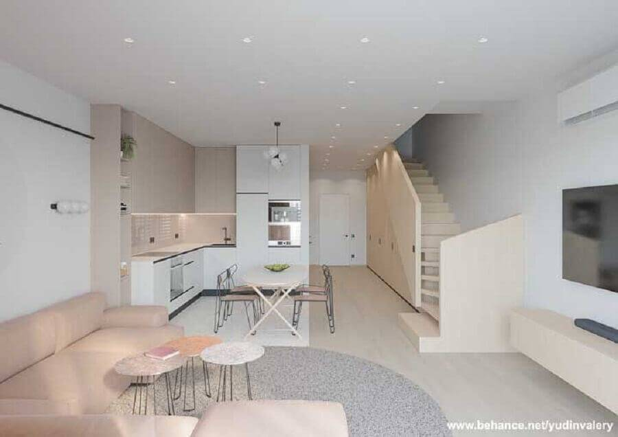 decoração em tons de bege para sala e cozinha conceito aberto Foto Behance