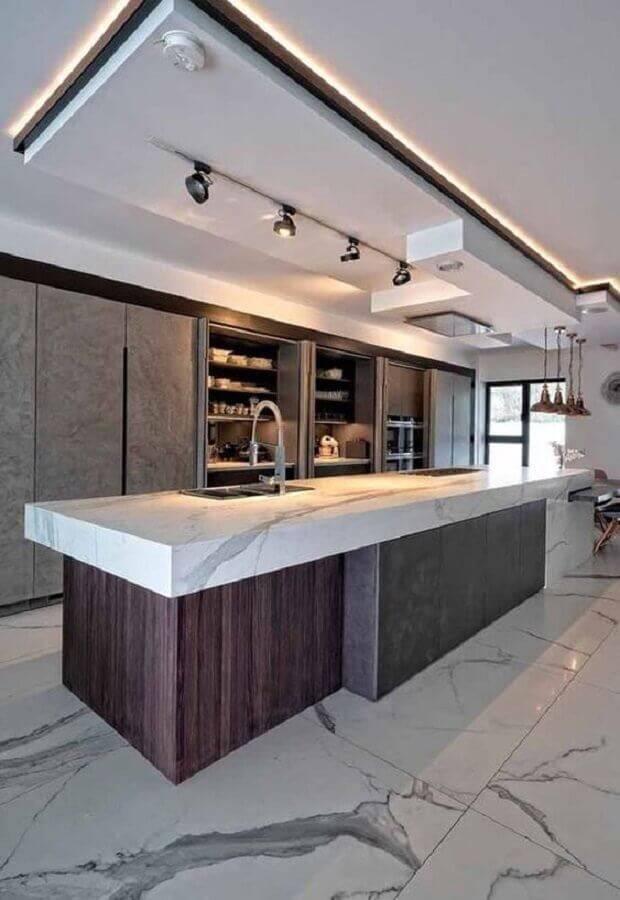 decoração moderna para cozinha grande Foto Decoração de Casa