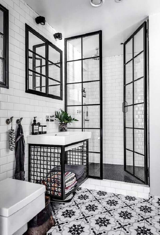 decoração para banheiro preto e branco Foto Remodelador