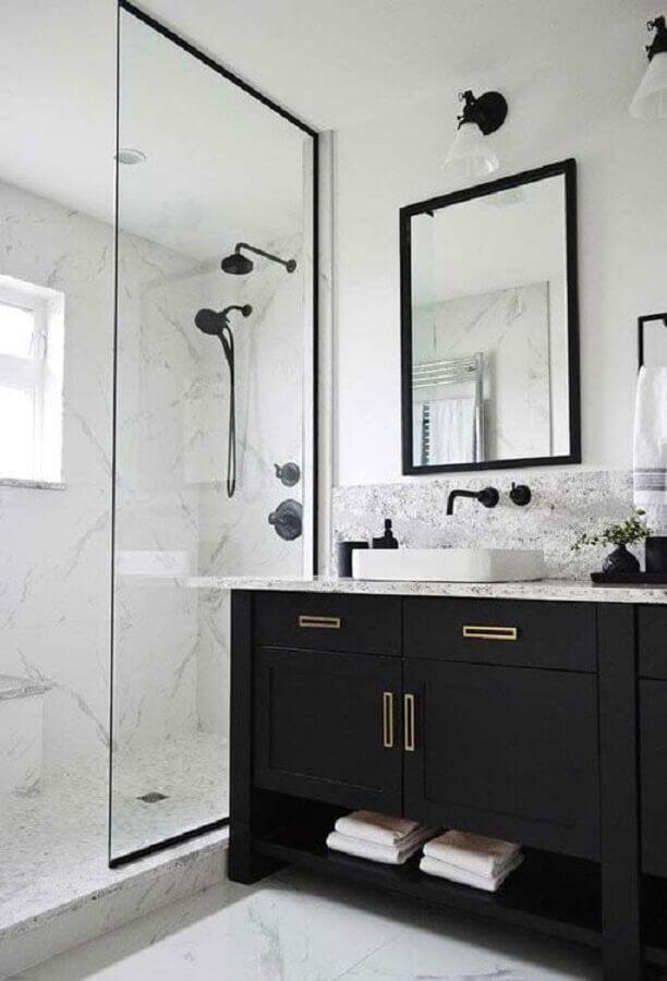decoração para banheiro preto e branco Foto Tudo Especial