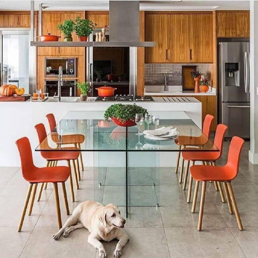 decoração para cozinha americana grande com mesa de vidro Foto Mandril Arquitetura