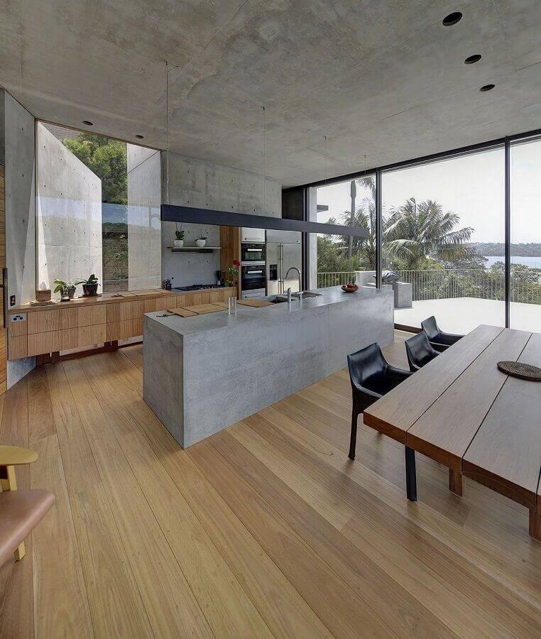 decoração para cozinha grande com ilha de cimento queimado Foto Bella Vie Interiors