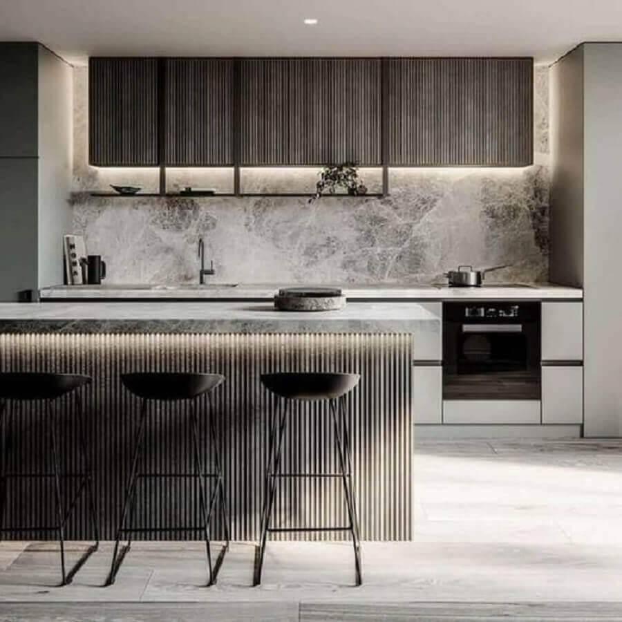decoração para cozinha planejada grande toda cinza Foto Pleasant Home