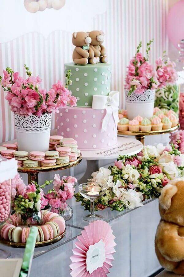 decoração para mesa de aniversário infantil rosa e verde bebê Foto Air Freshener