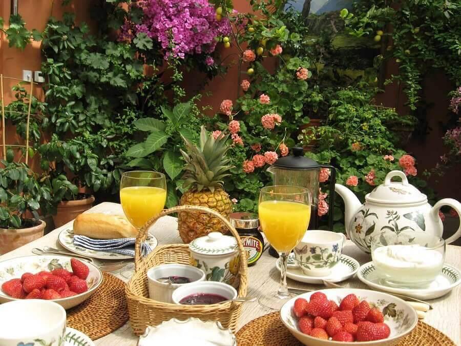 decoração para mesa de café da manhã Foto Wooden Gabbage