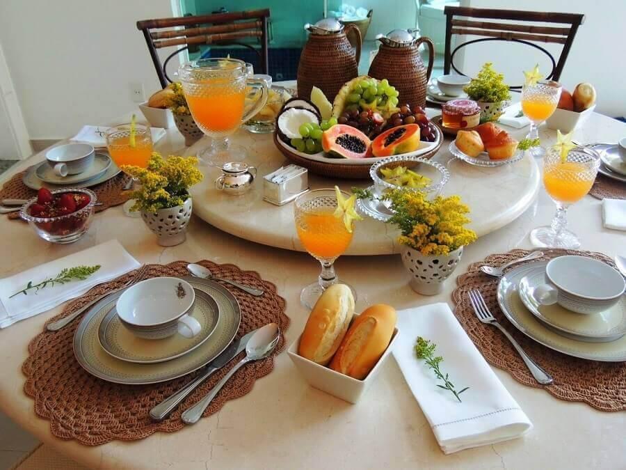 decoração para mesa de café da manhã com frutas Foto Formosa Casa