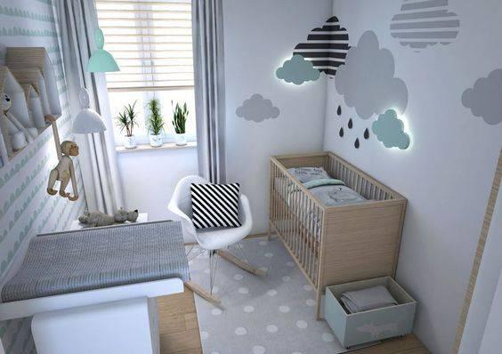 Decoração de quarto de menino com nuvem