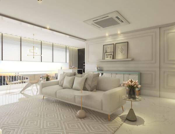 Decoração de sala de estar em tons neutros