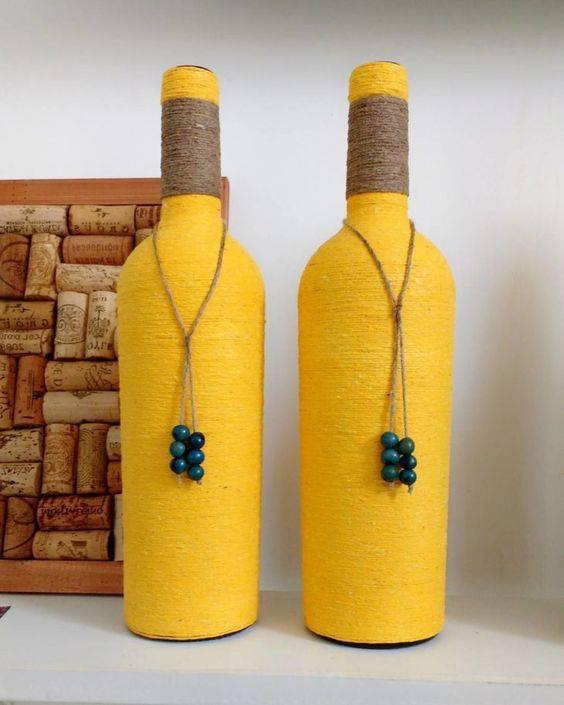 garrafas decoradas com barbante - garrafa com barbante amarelo