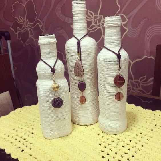 garrafas decoradas com barbante - garrafa com barbante branco