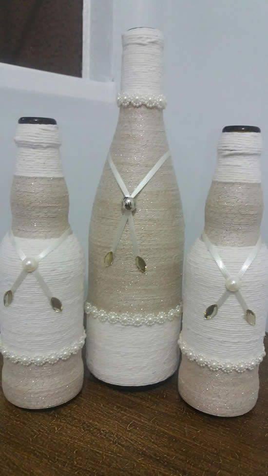 garrafas decoradas com barbante - garrafa com barbante brilhante