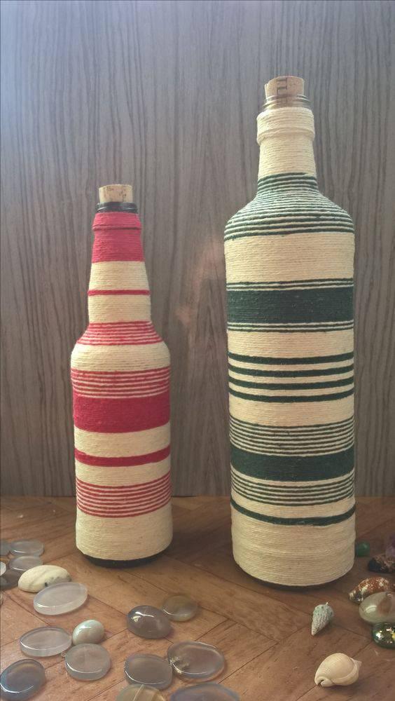 garrafas decoradas com barbante - garrafa com barbante colorido