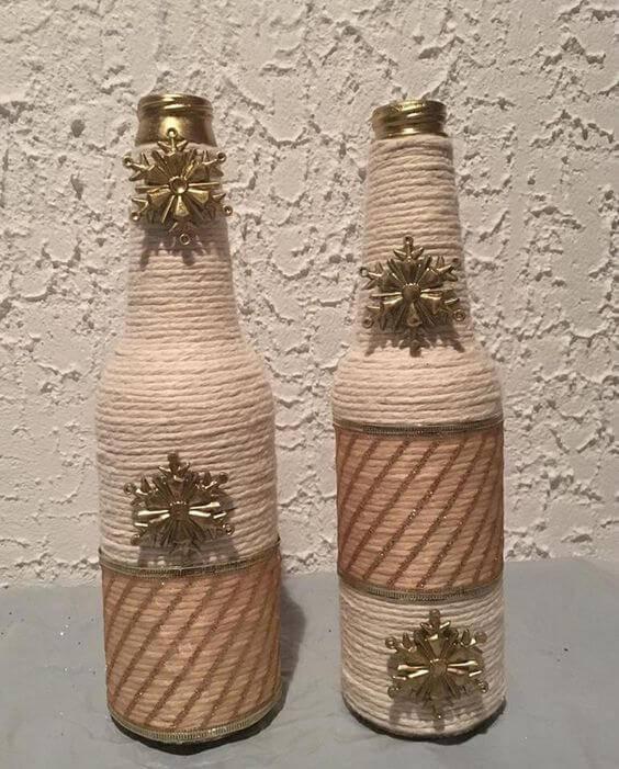 garrafas decoradas com barbante - garrafa com barbante e pingente