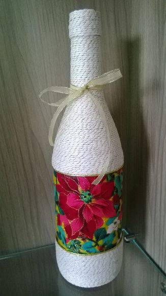 garrafas decoradas com barbante - garrafa com barbante pintado