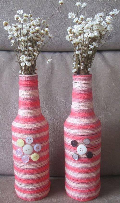 garrafas decoradas com barbante - garrafa com barbante rosa e branco