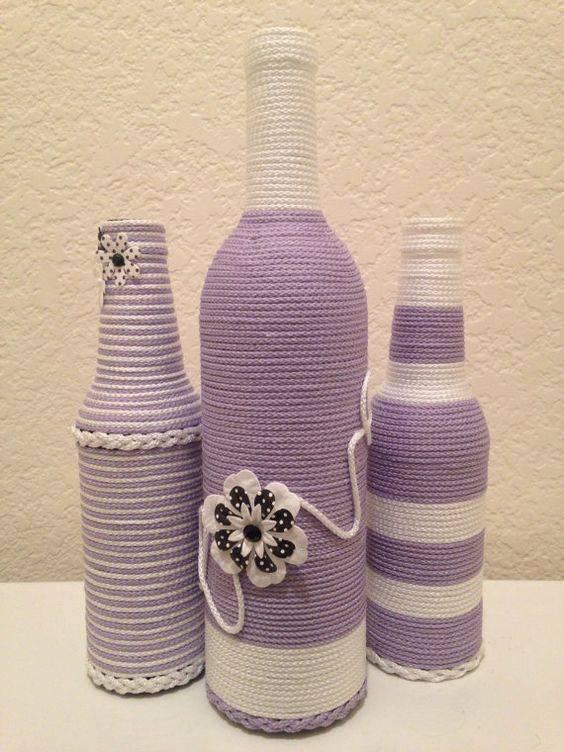 garrafas decoradas com barbante - garrafa com barbante roxo e branco