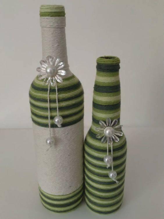 garrafas decoradas com barbante - garrafa com barbante verde e branco