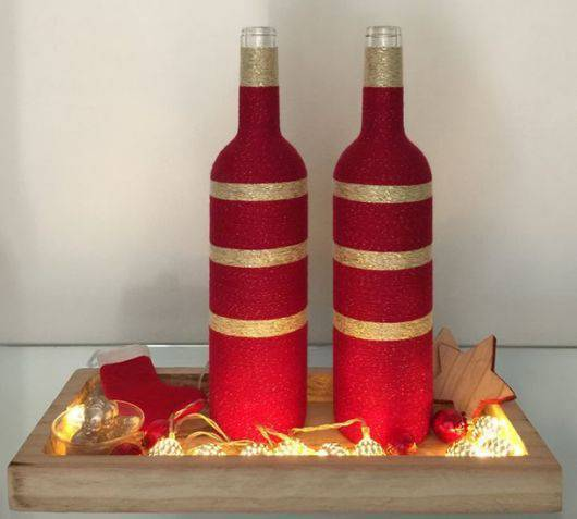 garrafas decoradas com barbante - garrafa com barbante vermelho
