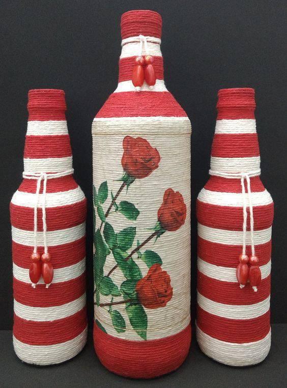 garrafas decoradas com barbante - garrafa com decoração colorida