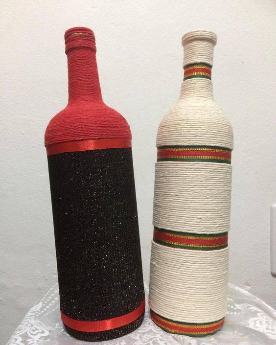 garrafas decoradas com barbante - garrafa com fitas e barbante