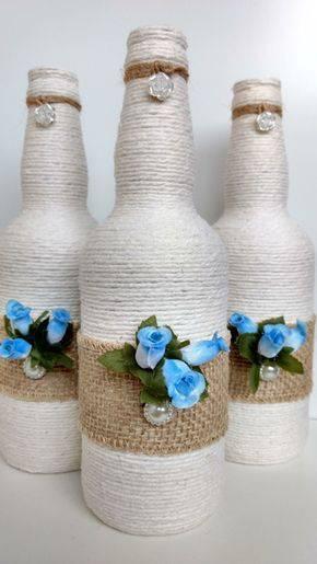 garrafas decoradas com barbante - garrafa com juta, barbante e flores