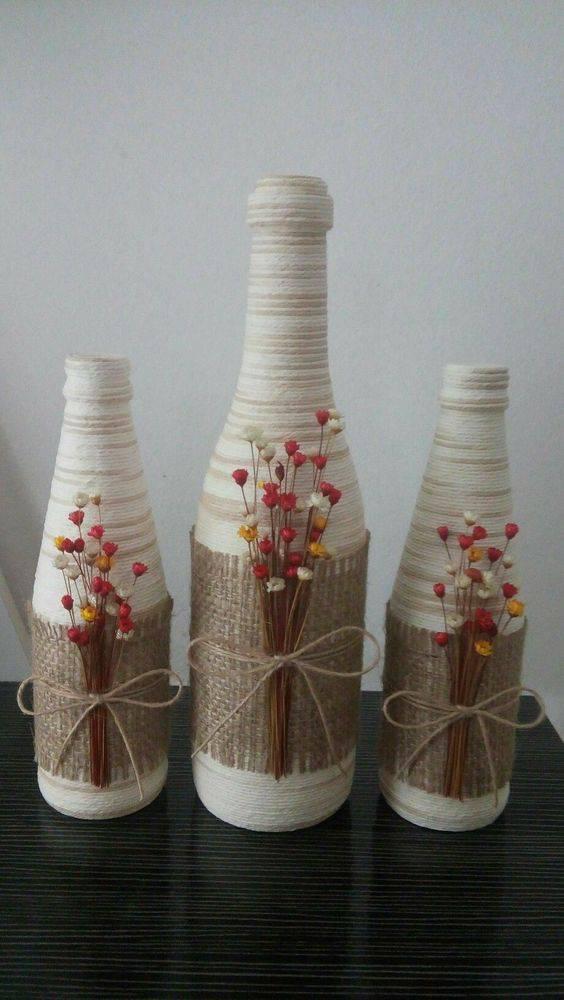 garrafas decoradas com barbante - garrafa com juta e barbante