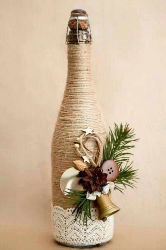 garrafas decoradas com barbante - garrafa para decorar natal